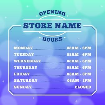 Geschäftsöffnungszeiten design