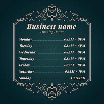 Geschäftsöffnungszeiten