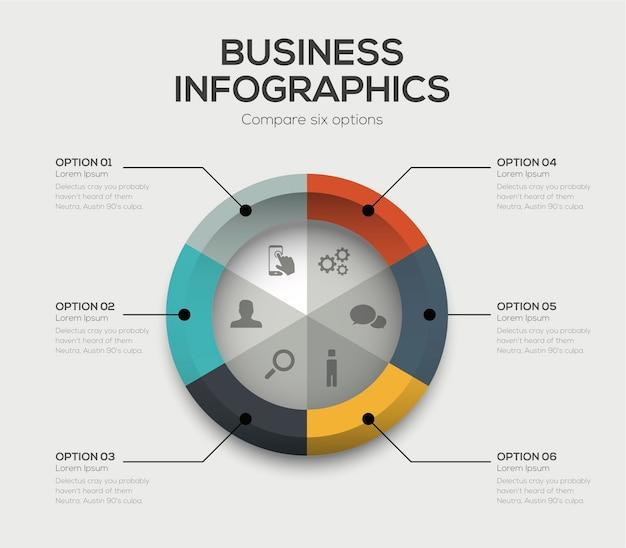 Geschäftsoptionen vektor. moderne ui-infografiken mit sechs auswahlmöglichkeiten