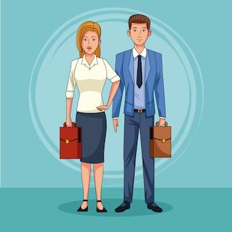 Geschäftspaar-teamarbeit