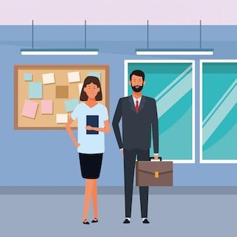 Geschäftspaaravatarazeichentrickfilm-figur im büro