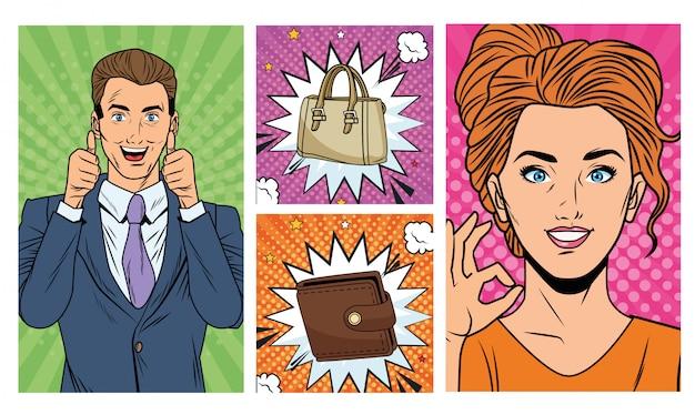 Geschäftspaare mit geldbörsen- und handtaschenpop-artart