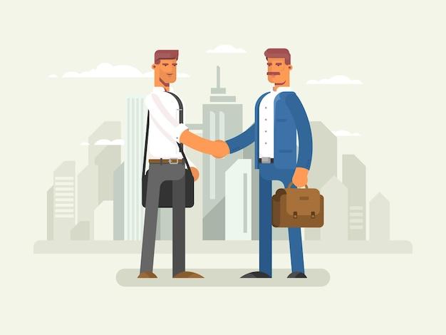 Geschäftspartner flaches design partnerschaftsgeschäftsmann-erfolgszusammenarbeitsvektorillustration