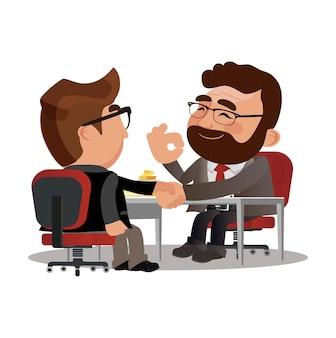 Geschäftspartner händeschütteln nach unterzeichnung der vertragsvereinbarung