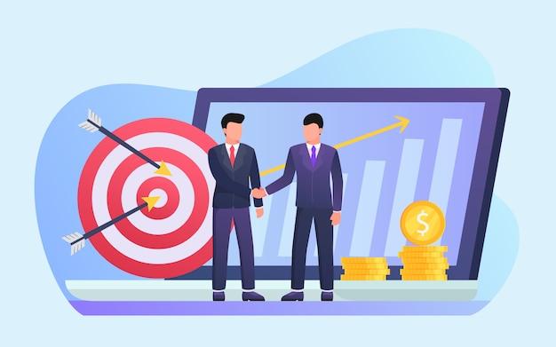 Geschäftspartner handshake deal vereinbarung partner mit modernen flachen stil