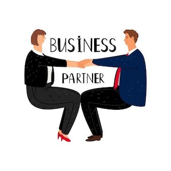 Geschäftspartner-karikaturillustration