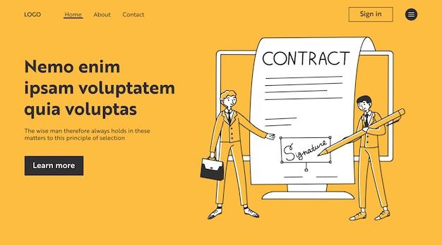 Geschäftspartner unterzeichnen elektronisches dokument