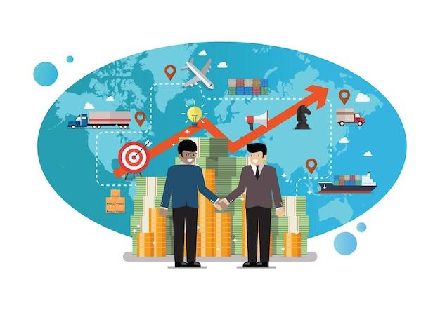 Geschäftspartnerschaft mit globalem logistiknetzwerk im hintergrund. vektor-illustration