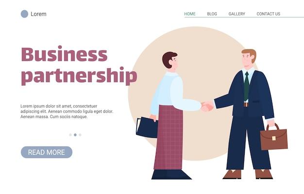 Geschäftspartnerschafts-website-banner mit menschenkarikatur-vektorillustration