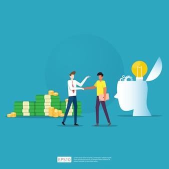 Geschäftspartnerschaftsabkommen und vereinbarung zum erfolg bei der teamarbeit und beim entwurf von gewinnkonzepten. investition eines geschäftsmannes in ein technologie-startup, das handshakes macht. flache illustration