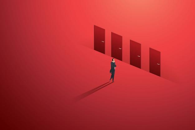 Geschäftsperson, die an tür vier der wahl auf dem roten weg der wand zum zielerfolg denkend steht. illustration