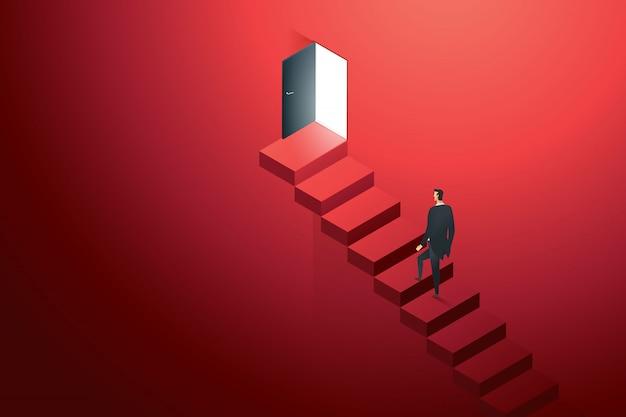 Geschäftsperson, die auf betonleiter an der tür schwarz an der wand rot oben pfadleiter zum zielerfolg klettert. illustration