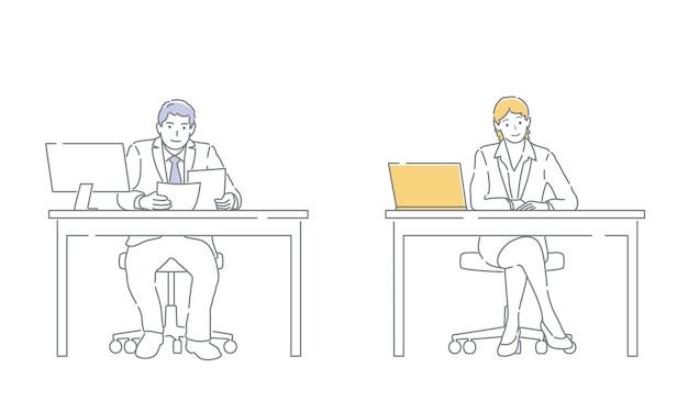 Geschäftsperson, die in einem büro mit einem computer arbeitet