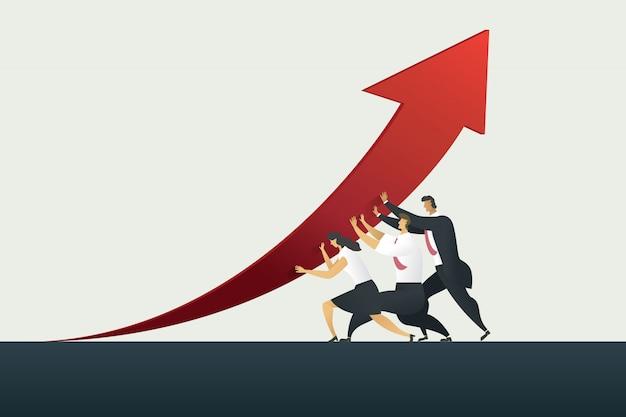 Geschäftspersonenteamarbeit, die pfeil nach oben zum ziel oder ziel im geschäft, erfolg hält.