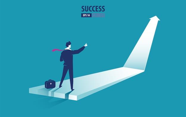 Geschäftspfeilkonzept mit geschäftsmann auf pfeil zeigend auf erfolg. wachstumschart steigern gewinnverkäufe und investitionen. hintergrund vektor