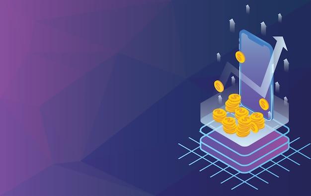 Geschäftspfeilkonzept mit smartphone- und dollargoldmünze