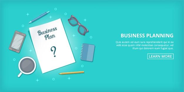 Geschäftsplanfahne horizontal, karikaturart