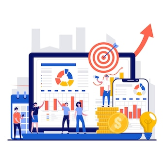 Geschäftsplanung und strategisches analysekonzept mit kleinem personencharakter