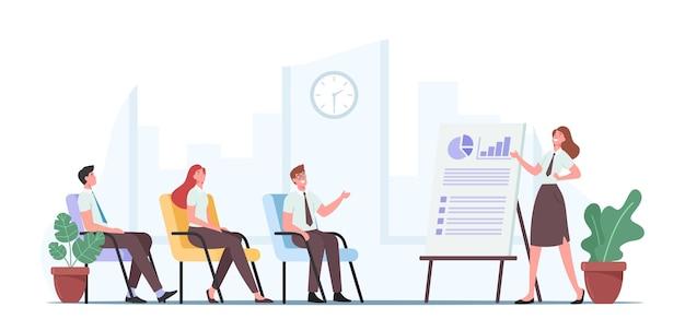 Geschäftspräsentation, beratung. unternehmensleiter oder coach-charakter, der auf diagramme und grafiken zeigt, mit mitarbeitern spricht publikum, der die unternehmensstrategie erklärt. cartoon-menschen-vektor-illustration