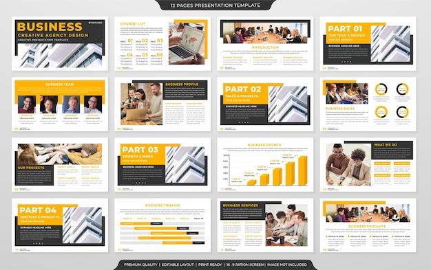 Geschäftspräsentationsschablonendesign mit klarem stil und modernem layout