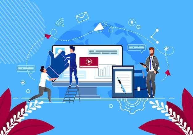 Geschäftsprobleme in social media lösen. inhaltsmanager