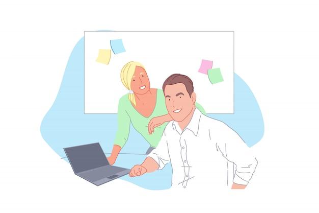 Geschäftsprojektentwicklung, mitarbeiterkooperation, partnerschaft, teamwork-konzept