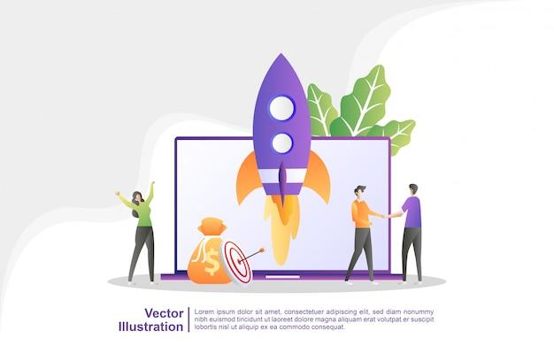 Geschäftsprojektstartprozess, idee durch planung und strategie, zeitmanagement.