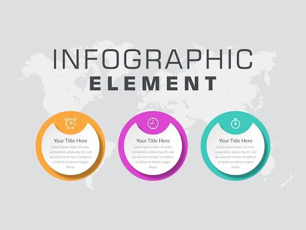 Geschäftsprozess für abstrakte infografikelemente mit drei punkten