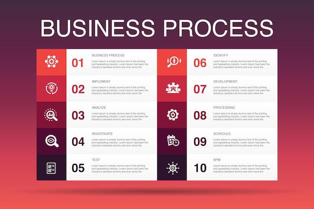 Geschäftsprozess infografik 10 option vorlage.implementieren, analysieren, entwickeln, verarbeiten einfache symbole