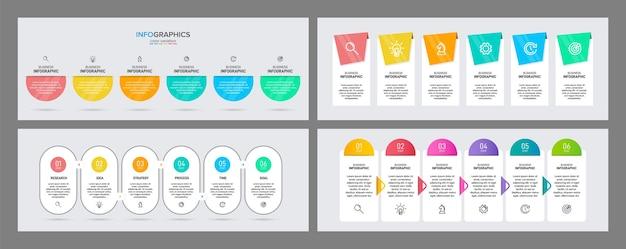 Geschäftsprozess mit 6 aufeinander folgenden zeitleistenschritten. stellen sie bunte infografik ein.