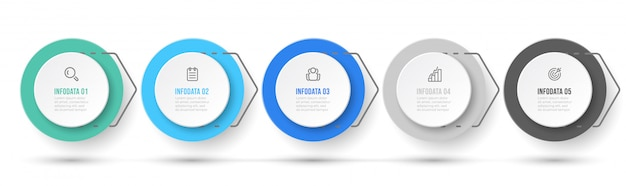 Geschäftsprozess. präsentation infografik-etikettendesign mit symbolen und 5 optionen oder schritten.