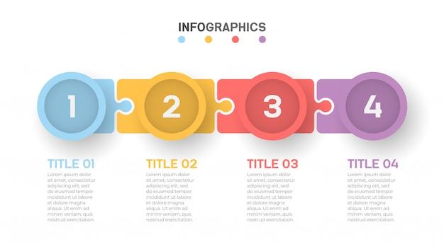Geschäftsprozess timeline infografiken mit 4 schritten.