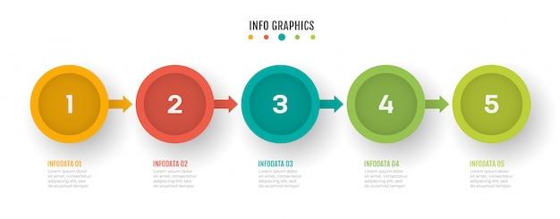 Geschäftsprozess timeline infografiken mit 5 schritten.