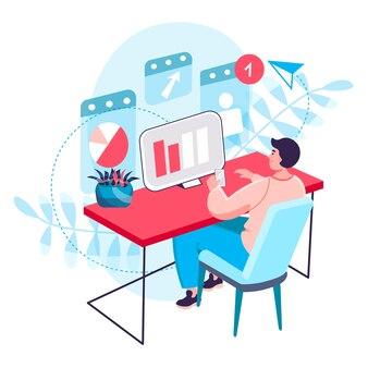 Geschäftsprozesskonzept. analyst analysiert daten, mann arbeitet mit statistiken am computer. optimierung und entwicklung der strategie-charakterszene. vektorillustration im flachen design mit leuteaktivitäten