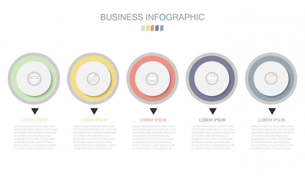 Geschäftsprozessvorlage. timeline-infografiken mit fünf schritten oder optionen.