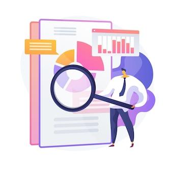 Geschäftsprüfung. finanzspezialist zeichentrickfigur mit lupe. prüfung statistischer grafischer informationen. statistik, diagramm, diagramm. vektor isolierte konzeptmetapherillustration