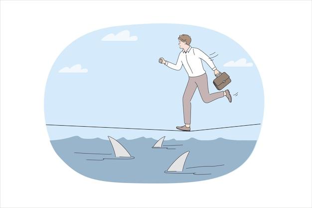 Geschäftsrisiken und herausforderungskonzept. junger gestresster geschäftsmann, der auf einem seil über dem meer voller gefährlicher haie läuft, die vektorillustration beeilen