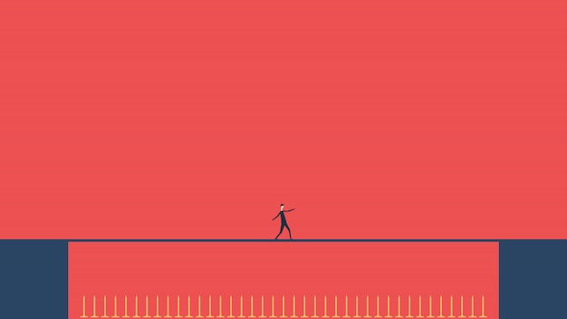 Geschäftsrisiko. geschäftsmann, der auf seiltänzerlücke gefährliche spitzen geht. weg zum erfolg. hindernis auf der straße. flaches design. unternehmensfinanzierung erfolgreiches konzept