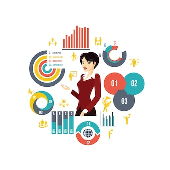 Geschäftsrunde zusammensetzung im flachen stil mit schönen stilvollen geschäftsfrau diagramme, diagramme, balken und geschäftselemente