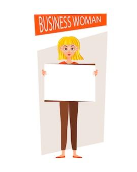 Geschäftssatz der geschäftsfrau. das mädchen zeigt auf der entwicklungskarte.