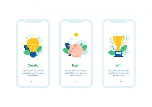 Geschäftsschablone der benutzerschnittstelle der mobilen anwendung von willkommensbildschirmen