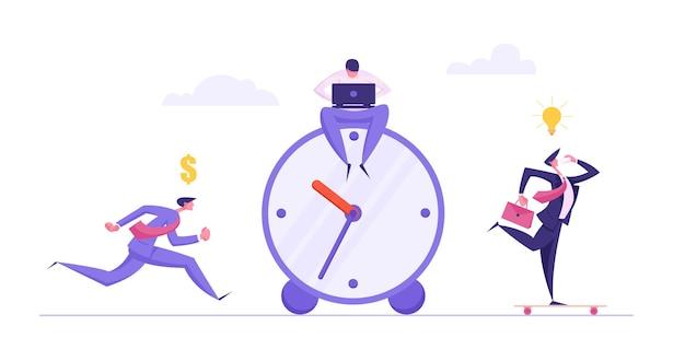 Geschäftsschluss-zeitmanagement-konzept mit geschäftsmann-illustration