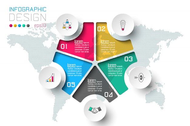 Geschäftsschrittoptionen und abstrakte infografik