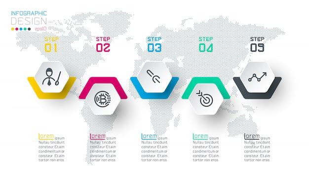 Geschäftssechskantaufkleber formen infografik-gruppenleiste.