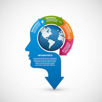 Geschäftssilhouettekopf der infografikschablone.