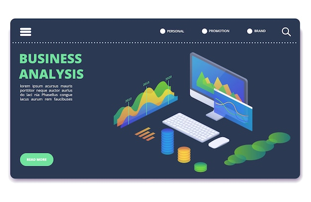 Geschäftsstatistikdiagramme, diagrammvektorkonzept. banner-vorlage für finanzanalysen