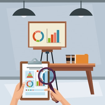 Geschäftsstatistiken im büro