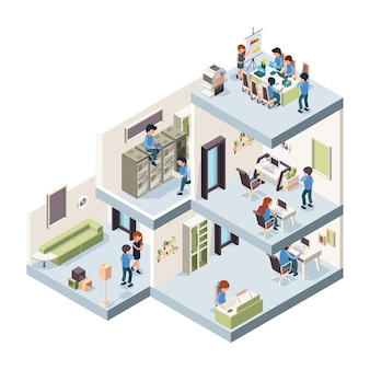 Geschäftsstelle isometrisch. unternehmensgebäude innen- und außenkreativitätsgruppe von freiberuflern und managern, die in schränken arbeiten. innenraum des illustrationsbürogebäudes, firmenarbeitsplatz