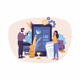 Geschäftsstrategie des flachen designkonzepts. analysedaten und investition.
