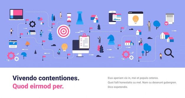Geschäftsstrategie karte erfolgreiche innovation neue ideen konzept isometrisches planungsschema team arbeitsprozess unternehmer cartoon charakter kopie raum